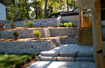 Stone terraces in the garden