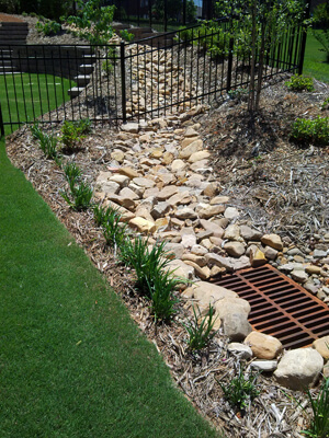 Backyard French drainage system with a drainage grate