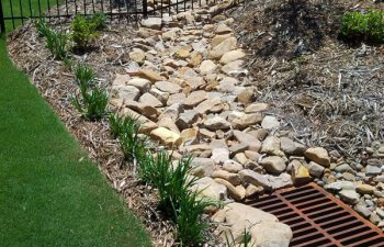 Grounds drained with stones