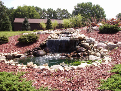 garden waterfall and hardscape