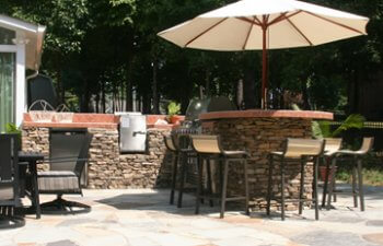 Stone patio with barbecue