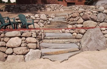 Stone walls and stairs made of stone