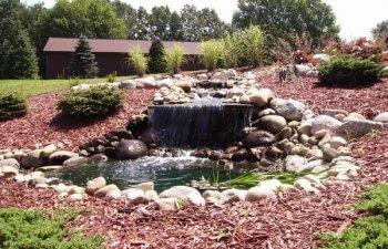 Stone waterfall in the garden